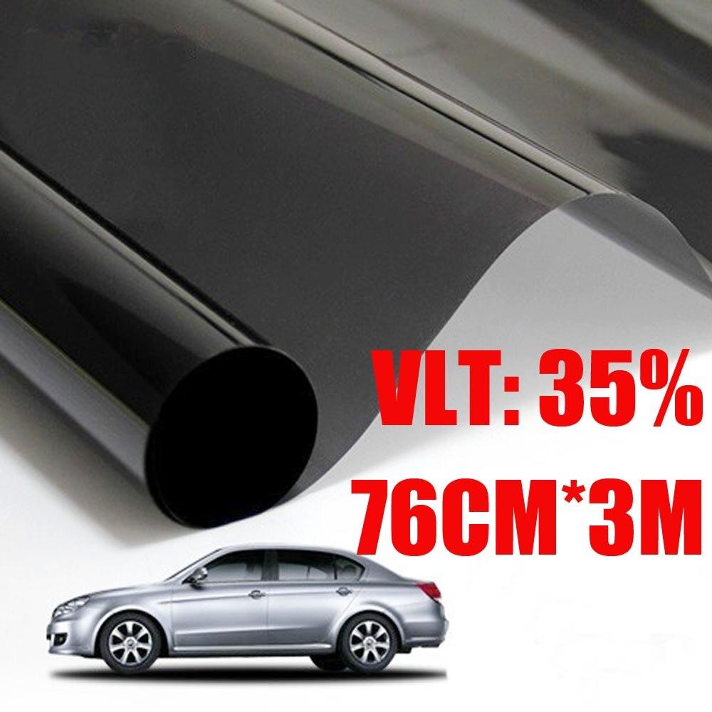 76 cm * 300 cm/Lot VLT 35%/rouleau lumière noire fenêtre de voiture teinte Film verre 2 plis voiture Auto maison commerciale Protection solaire été
