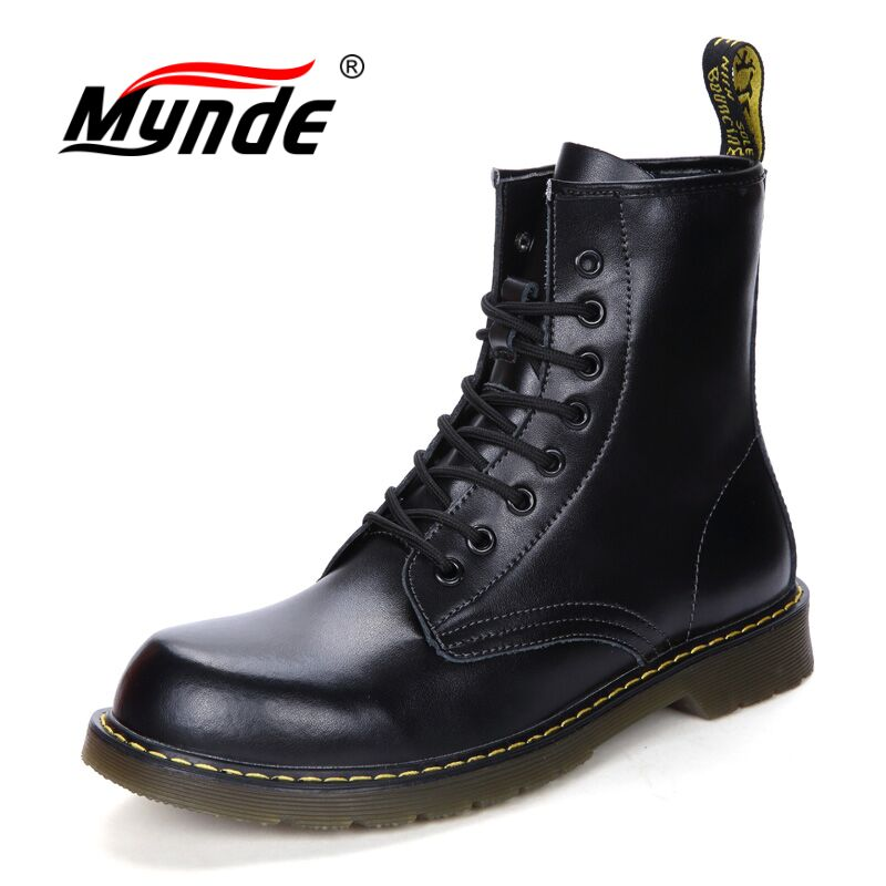Mynde New High Quality Cow Split Leather Men Shoes Waterproof Warm Men's boots Martin Motorcycle Autumn Winter Lover Snow Boots lozoga quality genuine leather shoes men boots high top martin motorcycle autumn winter shoes lover snow boots free shipping
