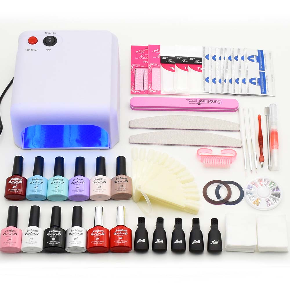 Nail art Manicure Tool sets 36W UV Lamp nail dryer 10ml soak off Gel Nail Polish base gel top coat uv build gel nail tools kit nail art tools manicure sets 18w uv lamp nail dryer 6 colors soak off gel nail polish top gel base coat nail kits