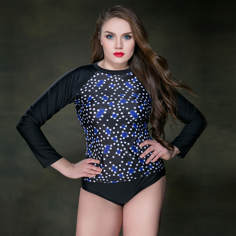 купить 2017 Sexy Summer Print Dot Ladies Swimsuit Long Sleeve Swimwear Women Bathing Suit Retro Swimsuit Plus Size Surfing Swim Suits недорого