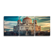 Vintage 3 Panel Poster Wall Artwork Famous Building Canvas Oil Painting for Living Room Home Decor Wedding Decoration No Frame