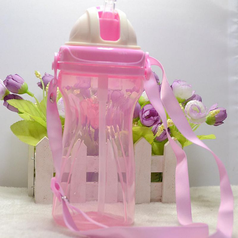 400ml Kids Drinking Cup Baby Non-toxic Bottles Child Training Drink Bottle Feeding with Adjustable Belt Portable & Anti-slip