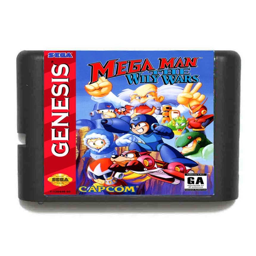 Mega Man The Wily Wars 16 Bit Game Card For Sega Mega Drive & Sega Genesis