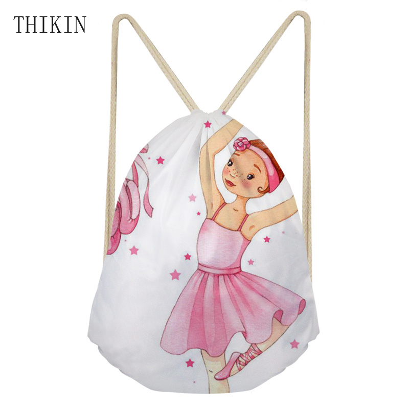 THIKIN Children Swimming Bags With Girl Ballet Printing Waterroof Sports Bag For Kids Girls Siwim Draw-string Style Backpack