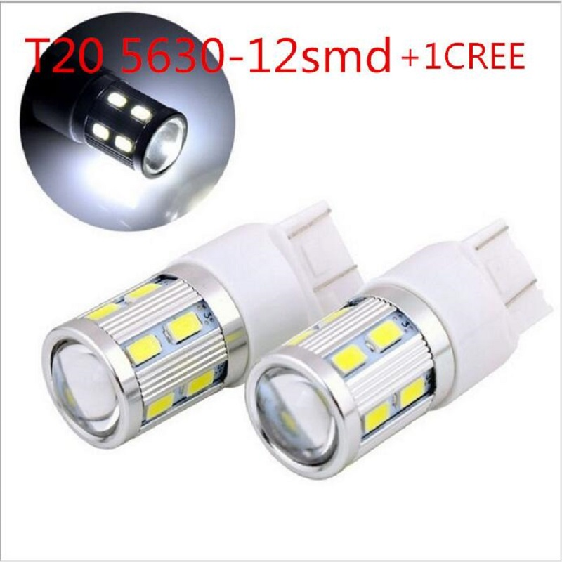 2pcs 7443 T20 W21/5W 12SMD 5630 + 5W 750LM LED Brake Lights High Power Chip Rear Tail Bulb LED Light Lamp White/Red/Yellow 12V