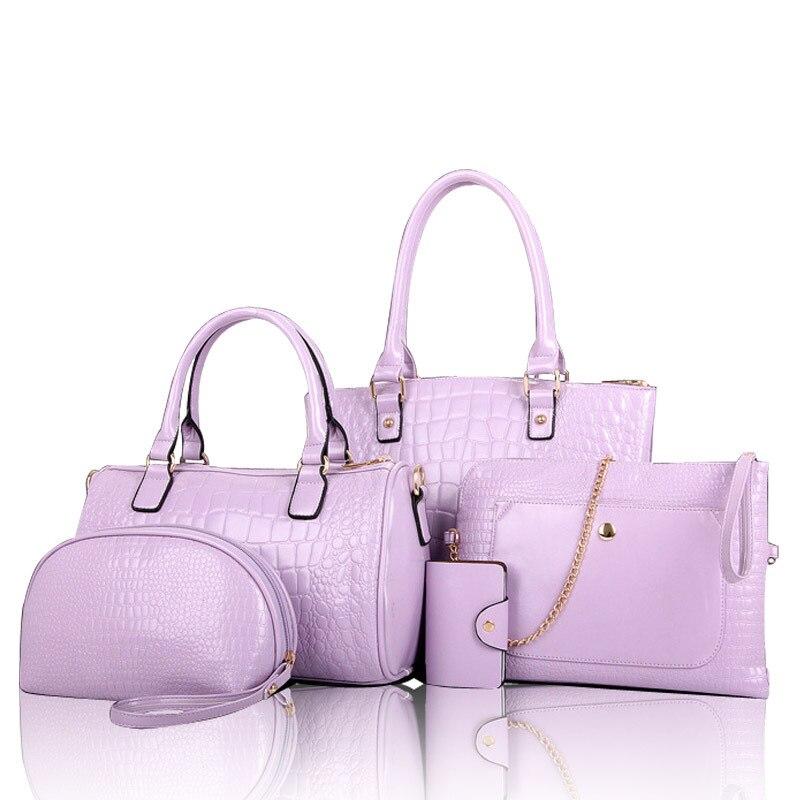 ФОТО red/blue/black/purple/rose red/beige buy 1 present 4 pieces women handbag shoulder bag clutch bag card holder