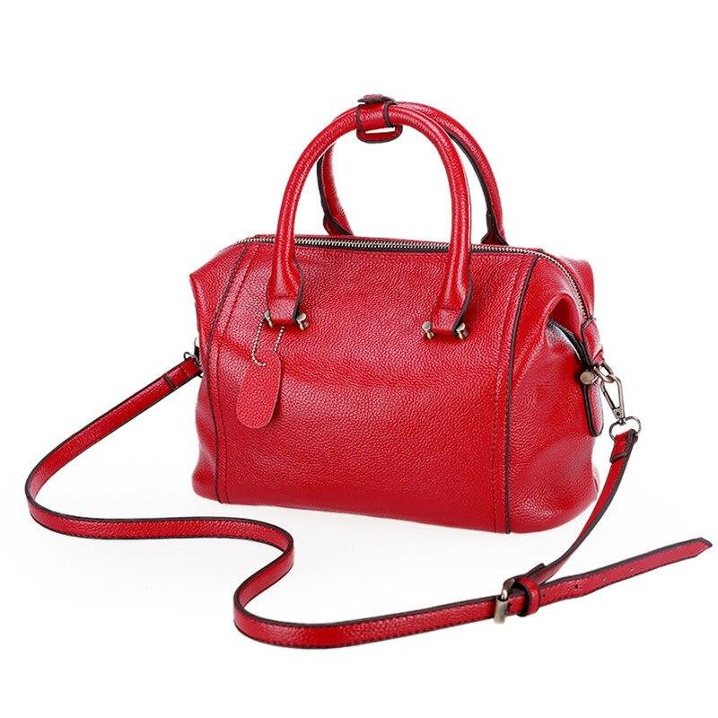 Trendy Fashion Boston Bag Women Luxury Concise font b Handbag b font Embossed PU Occident Style