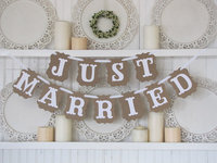Hot koop vintage Bruiloft decoratie vlag Garland Wedding banner met wit lint Party Decoraties (NET GETROUWD)