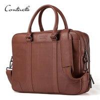 CONTACT'S Марка портфели из натуральной кожи Для мужчин Курьерские сумки новый мужской моды плеча портфеля ноутбук сумка