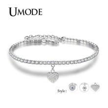 UMODE 2019 New Evil Eye Blue CZ Crystal Hamsa Hand Bracelet for Women White Gold Box Chain Adjustable Heart Jewelry Gift AUB0164 цена