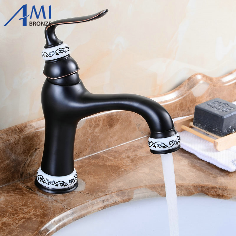 Newly Basin Faucet Brass & Porcelain Spout/Base Bathroom Faucets Hot ...
