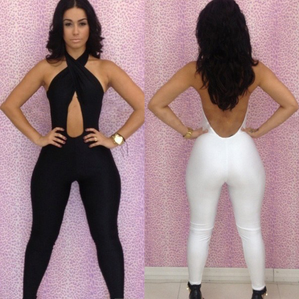 Elegant Jumpsuits For Tall Women Hanging Neck American Hot Sexy CD011 2 Colors White