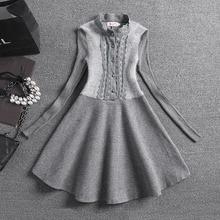 2015 Autumn Winter Women Woolen Knitted Dress Casual Long Sleeve Knit Warm Dresses Lace Cute Stand Collar Dress Vestido  NS20