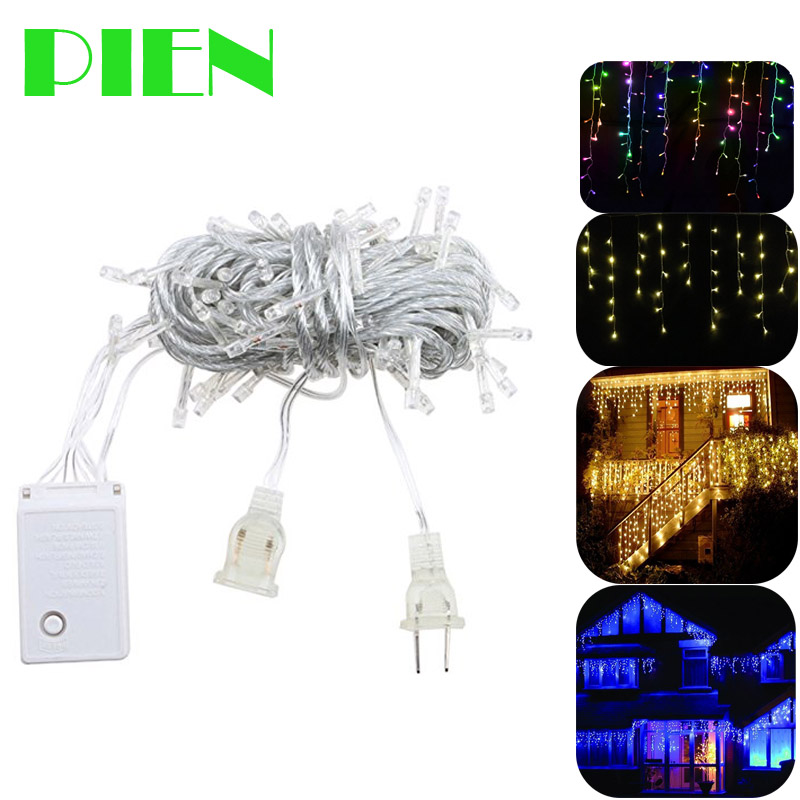 Window curtain icicle lights 100 leds string fairy bulb for Window net lights