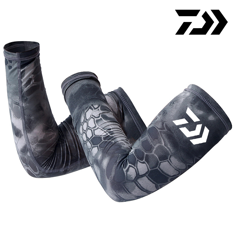 DAIWA Arm Sleeve Gym Arm Warmers Running Cover Arm Guards Fishing Elbow Pads Support Fitness Cycling Sun UV Protection