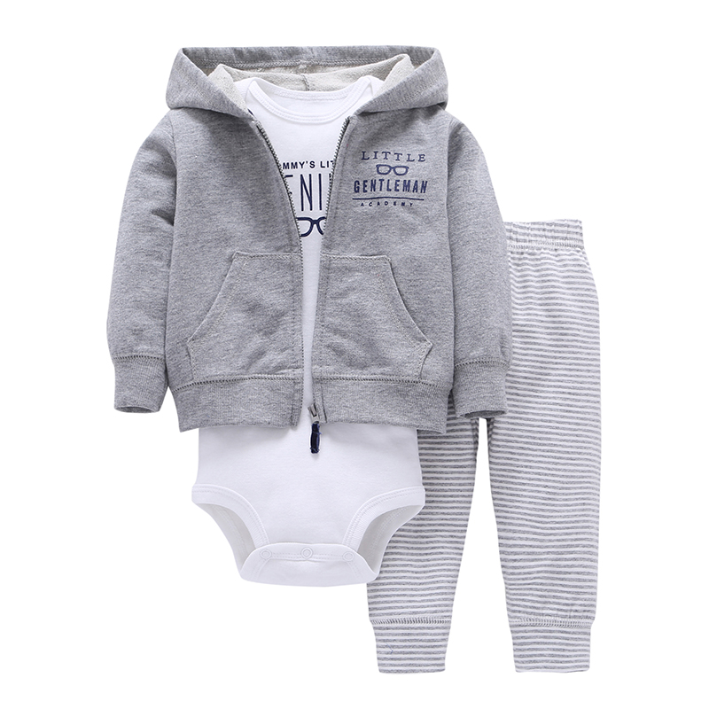 baby boy spring clothes gray Long sleeve jackets+romper+stripe pants cotton clothes set for newbron 0-24m baby girl costume newborn baby boy clothes set cotton long sleeved party letter t shirt stripe pants 2pcs