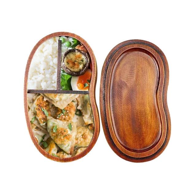 Экологичные японский Стиль натурального дерева Bento Коробки для обедов коричневый деревянный Ланчбокс суши Еда контейнер
