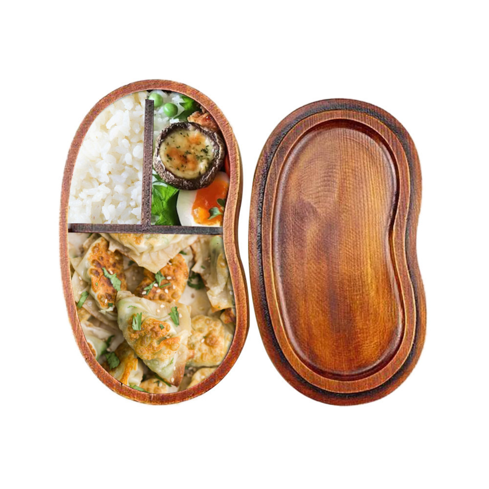 Eco-friendly Japanese Style Natural <font><b>Wood</b></font> Bento <font><b>Lunch</b></font> <font><b>Box</b></font> Brown Wooden Lunchbox Sushi Food Container image