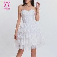 Corzzet Wedding White Lace Up RSteampunk Corset Dress Women Bridal Sexy Push Up Gothic Corpetes E