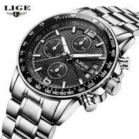 LIGE Luxury Brand Watches Men Six Pin Full Stainless Steel Military Sport Quartz Watch Man Fashion