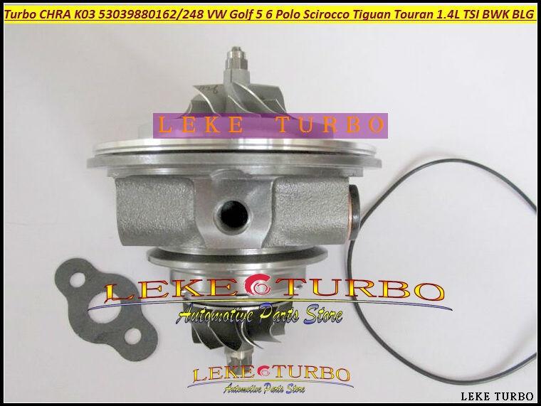 Turbo cartridge CHRA K03 53039880150 53039880099 53039700150 53039700099 For VW Golf 5 Polo Tiguan Touran 1.4L TSI BWK BLG CAVB free ship turbo k03 29 53039700029 53039880029 058145703j n058145703c for audi a4 a6 vw passat 1 8t amg awm atw aug bfb aeb 1 8l