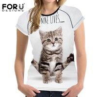 Forudesigns najnowszy funny cat wzór t shirt dla kobiet latem codziennie styl t-shirt kobiet krótkim rękawem oddychające top tees s-xxl