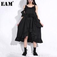 [EAM] 2019 New Spring Summer Spaghetti Strap Strapless Ruffles Split Joint Irregular Hem Loose Dress Women Fashion Tide J21