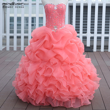 85e3f11d66 In Stock Watermelon Red Pink Blue Quinceanera Dresses Ball Gown With Beads  Quinceanera Gowns Sweet 16