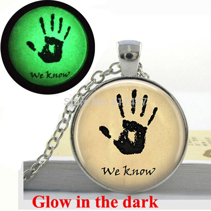 Glow in the dark Necklace ,Dark Brotherhood We Know Pendant glass art photo necklace Glowing Jewelry