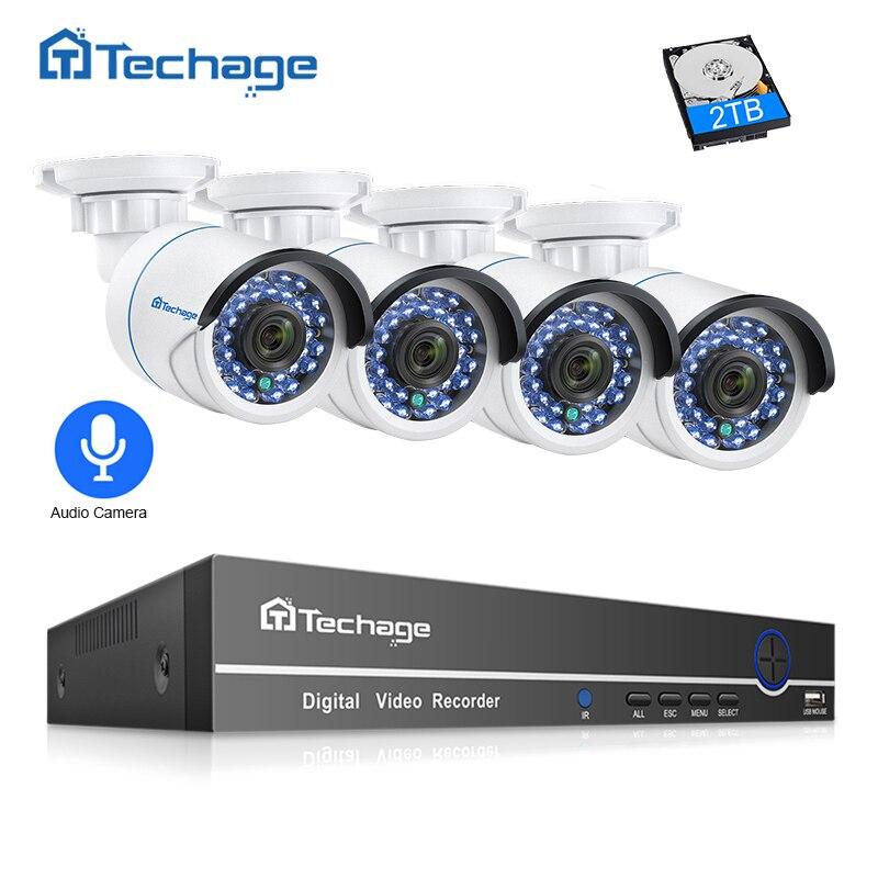 Techage 8CH 1080 P POE NVR CCTV Security System 4 PCS 2.0MP Audio Record IP Kamera IR P2P Outdoor Video überwachung Kit 2 TB HDD