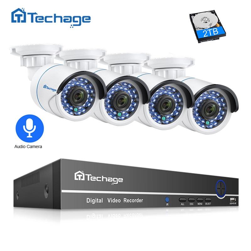 Techage 8CH 1080 P POE NVR Sistema de Segurança CCTV 4 PCS 2.0MP P2P Câmera do IP DO IR Ao Ar Livre De Gravação de Áudio Vídeo kit de vigilância 2 TB HDD