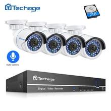 Techage 8CH 1080 P POE NVR видеонаблюдения Системы 4 шт 2.0MP аудио запись IP Камера ИК P2P Открытый комплект видеонаблюдения 2 ТБ HDD