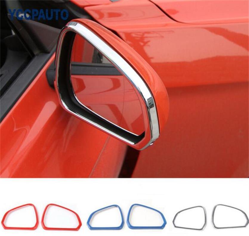 SHINEKA Ruban Lumineux Couleur Rétroviseur Cadre Cercle Décoration Couverture pour Ford Mustang USA Standard 2015 +