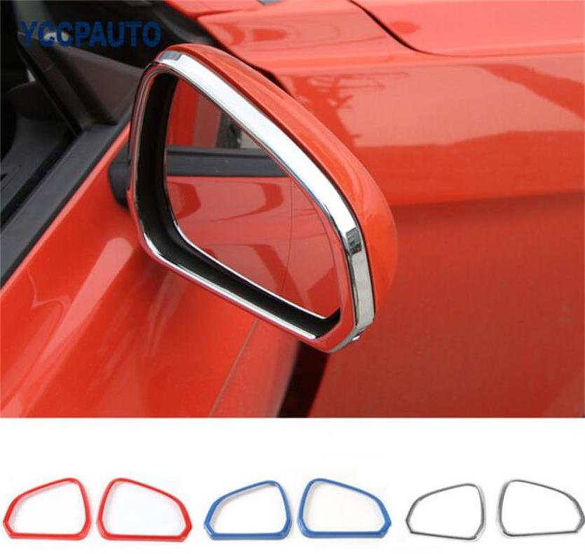 SHINEKA Sliver Bright Color Rearview Mirror Frame Circle Decoration Cover for Ford Mustang USA Standard 2015 in Car Stickers from Automobiles Motorcycles