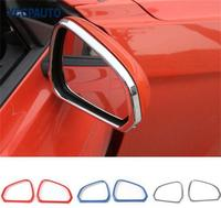 SHINEKA Sliver Bright Color Rearview Mirror Frame Circle Decoration Cover for Ford Mustang USA Standard 2015+