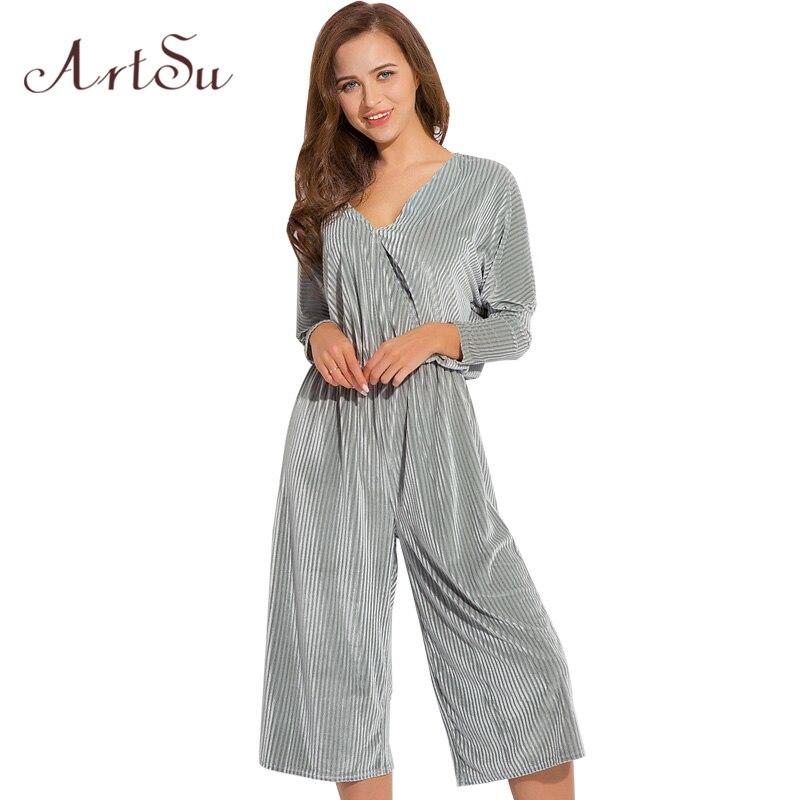 ArtSu Sexy Velvet V Neck Calf-Length Pant Jumpsuit Women Romper 2018 Spring Summer Party Playsuit Long Sleeve Overalls ASJU30359