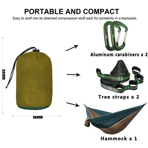 Image 2 - Solid Color Parachute Hammock with Hammock straps and Aluminum carabiner Camping Survival travel Double Person outdoor furniture