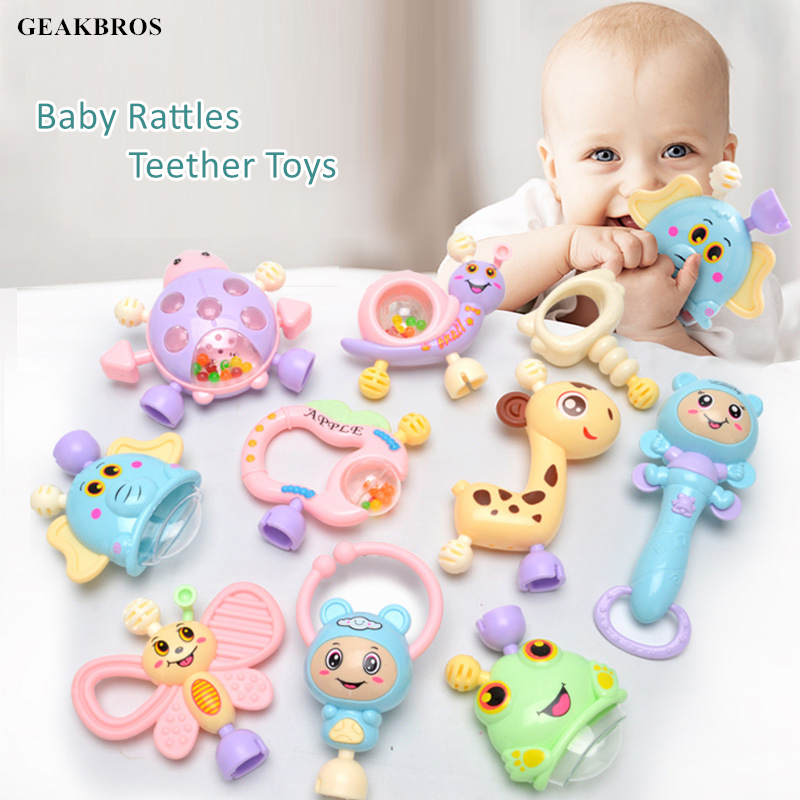 6pcs-10pcs/Set Baby Teether Toys Handshake Bell Crib Rattles Montessori Educational Toys 0-12 Months Newborn Hand Shake Bed Toys