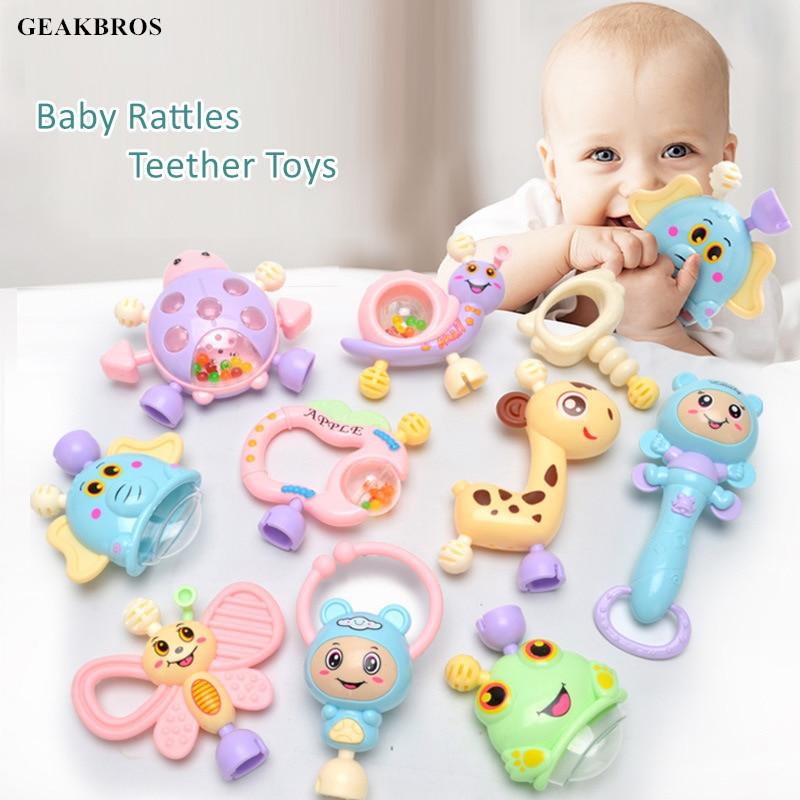 6pcs-10pcs/Set Baby Teether Toys Handshake Bell Crib Rattles Montessori Educational Toys 0-12 Months Newborn Hand Shake Bed Toys