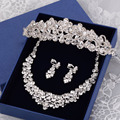 Bride Crown Jewelry Princess Tiara Wedding Party Accessories Romantic Clip Earrings  Tiara