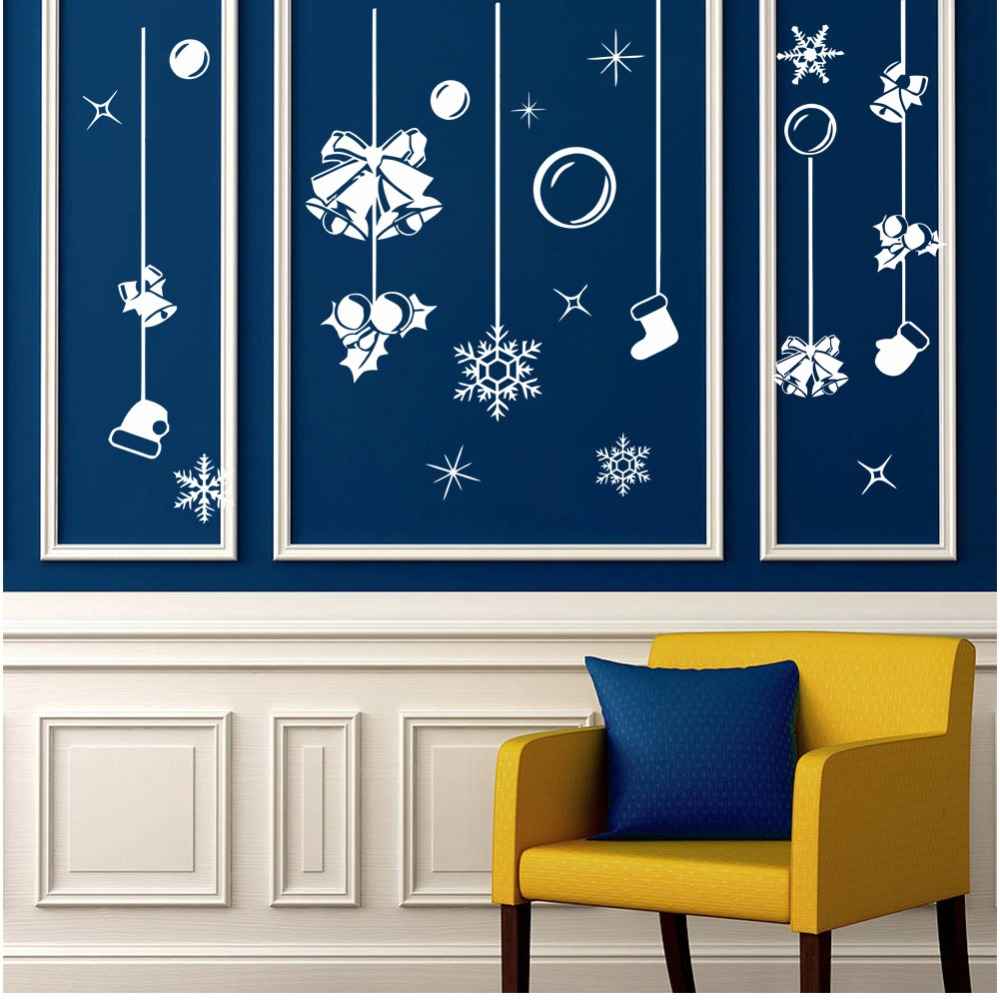 Christmas ornament black and white 187 home design 2017 - 2017 White Snow Merry Christmas Bell Ornaments Wall Sticker Window Home Wall Decoration Shop Store Decor
