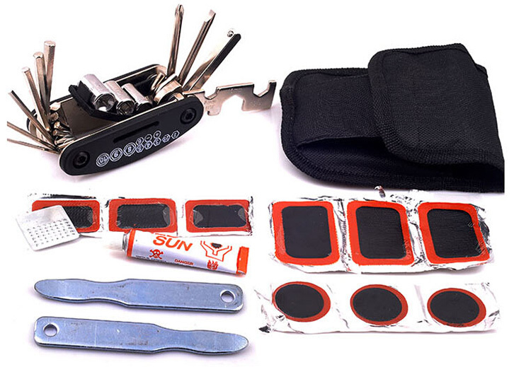 Mountain Bike Bicycle Repair Set with Patch Wrench Glue Socket Multi Purpose All in One Hand Tool Kit