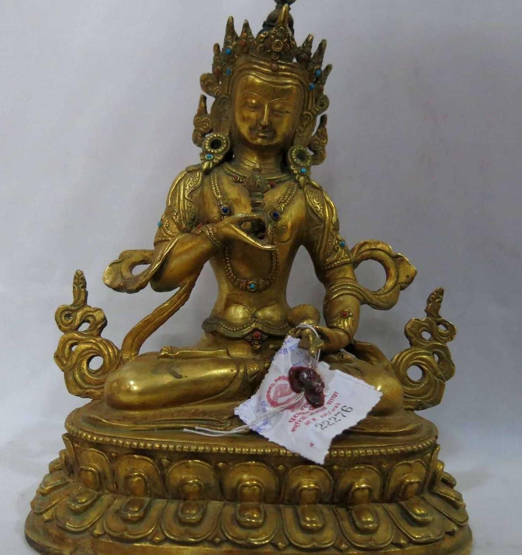 """9"""" China Tibet Gilt bronze Buddhism Vajrasattva buddha figure Sculpture Statue Statues & Sculptures Home & Garden - title="""