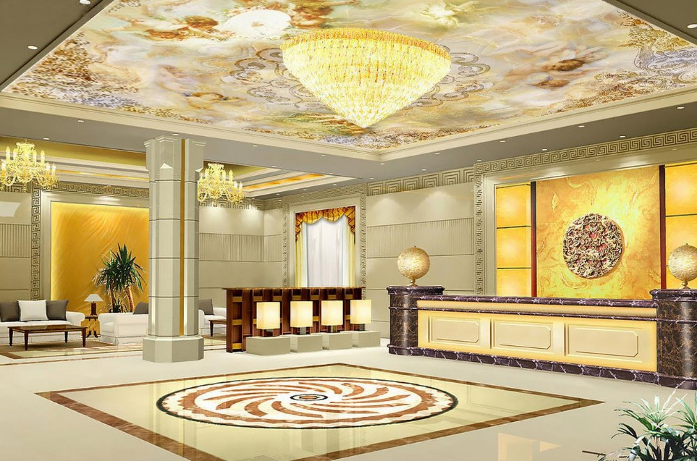 3d ceiling murals wallpaper European-style mural cute little angel wallpaper 3d ceiling 3d customized wallpaper  free shipping european 3d relief murals aisle porch corridor classical style wallpaper rich tree rose vase mural