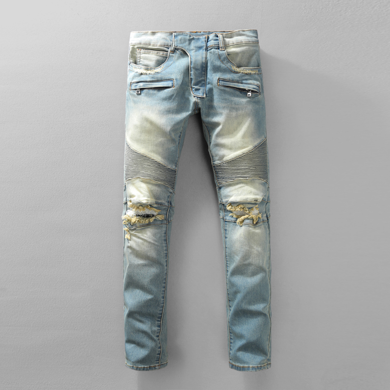 New Style Skinny Biker Jeans For Men Autumn Winter Motorcycle Ripped Mens  Jeans Famous Brand Slim Distressed Blue Denim Overalls