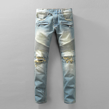New Style Skinny Biker Jeans For Men Autumn Winter Motorcycle Ripped Mens Jeans Famous Brand Slim