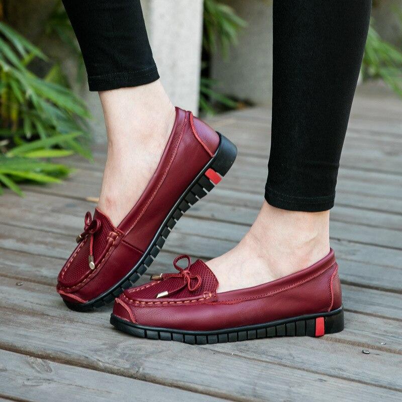 Véritable Femmes forme En Nouvelle Casual Chaussures Mesh Dames Mode Air Plate Mocassins Appartements Conduite Noir Cuir rouge Plardin De Doux gI4zz