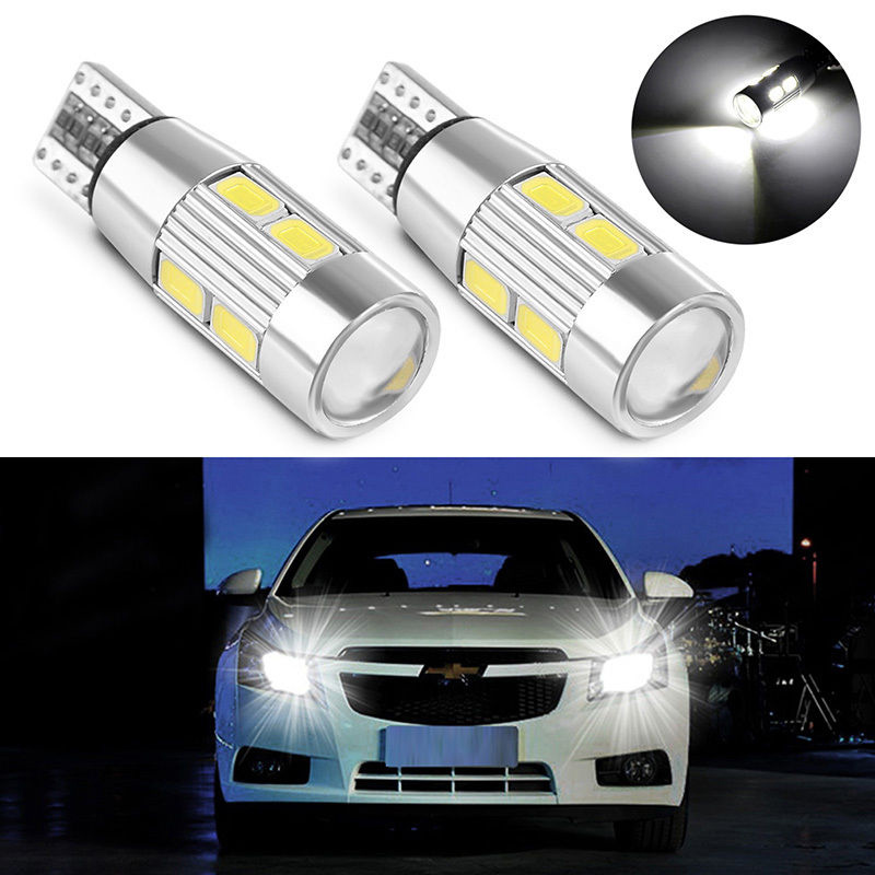 2pcs T10 5630 10 SMD White LED Car Canbus Interior Dome Door Bulb Light Error Free Lens Headlight Side Wedge License Plate Lamp guess guess flbay1 lea08 black