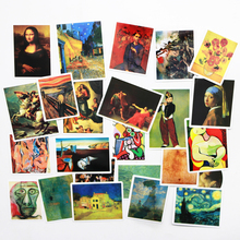 24 PCS Van Gogh painting sticker famous arts Mona Lisa portrait oil pattern Waterproof decorative sticker цена
