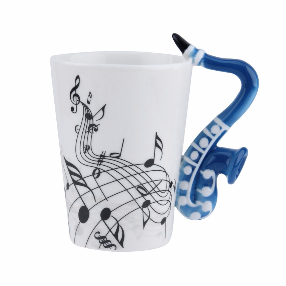 OUTAD Novelty Art Ceramic Mug Cup Musical Instrument Note Style Coffee Milk Cup Christmas Gift Home Office Drinkware
